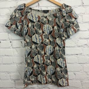 Deletta Top Short Sleeved Printed Floral Tiered md
